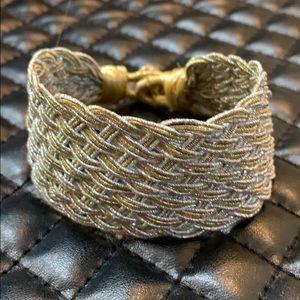 Lucky Brand Silver Gold Braided Cuff Bracelet